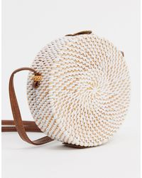 ASOS Structured Rattan Circle Bag With White Weave