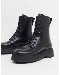 & Other Stories - Leather Lace Up Chunky Flat Boots - Lyst