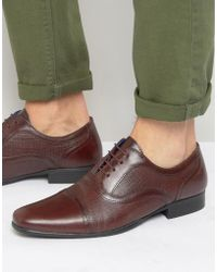 Red Tape Smart Brogues In Black Leather - Red - Brown
