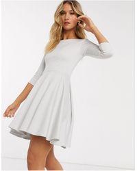Closet Mini Skater Dress With 3/4 Sleeve - White