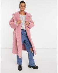 Monki Teddy Borg Coat - Pink