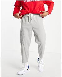 Bershka Loose Fit Cargo Trousers - Grey