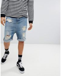 ASOS - Drop Crotch Denim Shorts With Extreme Rips In Vintage Blue Wash - Lyst