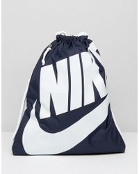 Nike - Heritage Drawstring Backpack In Blue Ba5351-451 - Lyst ebb15631749