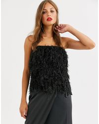 ASOS Faux Feather Bandeau Top - Black