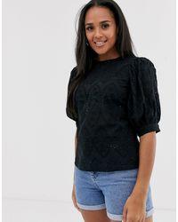 ASOS Broderie Short Sleeve Top With Volume Sleeves - Black