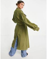 ASOS Trench-coat oversize en lin à manches larges - Kaki - Vert