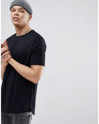 Bershka - Longline T-shirt In Black - Lyst