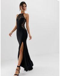 TFNC London High Neck Lace Maxi Dress - Black