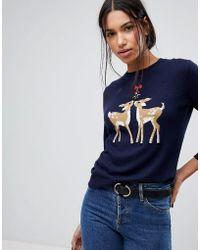 Warehouse Christmas Reindeer Sweater - Blue