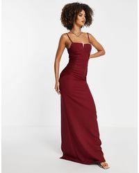 Trendyol Vestido largo con muesca - Rojo