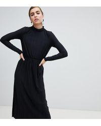 Monki High Neck Midi Plisse Dress In Black