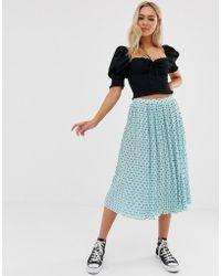Glamorous Plisse Midi Skirt In Mini Star Print - Blue