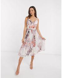 Little Mistress Lea Pleated Midi Dress - Multicolour