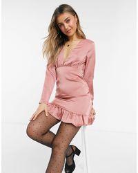 Lola May Satin V-neck Dress With Ruffle Detail - Pink