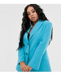 ASOS Asos Design Curve Pop Waisted Suit Blazer - Blue