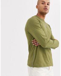 ASOS T-shirt à manches longues zippé sur les côtés - Vert