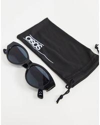 ASOS Gafas de sol negro brillante con montura ovalada de material reciclado de