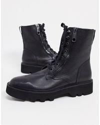Calvin Klein Черные Кожаные Ботинки На Шнуровке -черный