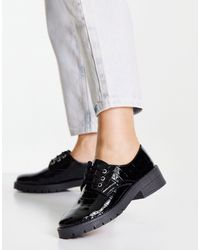 Miss Selfridge Lila Croc Lace Up Flat - Black