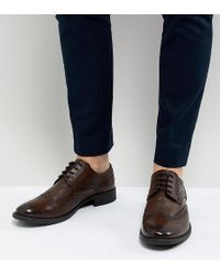 Frank Wright - Wide Fit Brogues In Brown Leather - Lyst