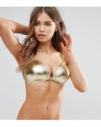 Wolf & Whistle - Gold Triangle Bikini Top B-f Cup - Lyst