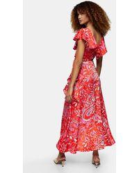 TOPSHOP Satin Ruffle Wrap High/low Dress - Red