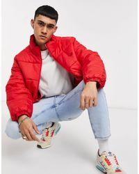 adidas Originals - Giacca imbottita rossa con colletto alla coreana - Lyst