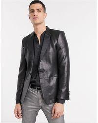 ASOS Blazer skinny con paillettes nero opaco