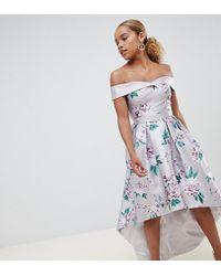 Chi Chi London Printed Sweetheart Bandeau Midi Dress - Multicolour