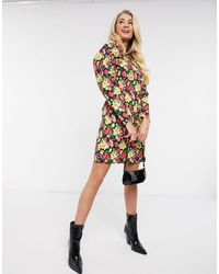 NA-KD Floral Print Mini Dress With Puff Sleeves - Multicolour