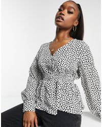 Missguided Blouse With Shirred Waist - White