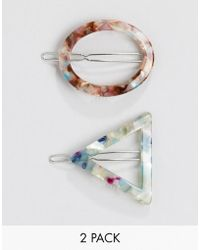 Stradivarius - Set Of 2 Circle & Triangle Hairclips - Lyst
