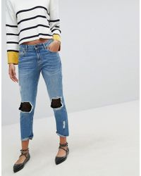Stradivarius - Denim Jean With Mesh Patching - Lyst