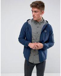 Hollister Windbreaker Jacket Jersey Lined In Navy - Blue