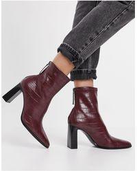 Mango Moc Croc Heeled Boots - Brown