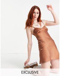 Collusion 90s Satin Mini Slip Dress With Open Back - Brown