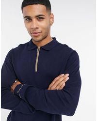 Jack & Jones Premium – Langärmliges Polohemd mit Reißverschluss - Blau
