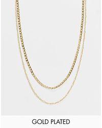 Orelia - Позолоченное Ожерелье В Несколько Рядов Из Цепочек Плетения «фигаро» И Панцирного Плетения -золотистый - Lyst