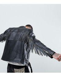 Reclaimed (vintage) - Revived Fringed Leather Biker Jacket - Lyst