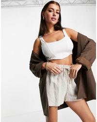 Flounce London Top d'ensemble style corset - Écru - Blanc