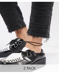 ASOS - Anklet 2 Pack With Arrow In Burnished Gold - Lyst