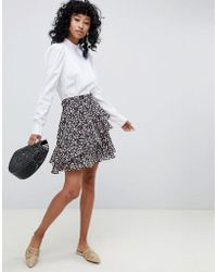 Ichi - Floral Flippy Skirt With Ruffle - Lyst