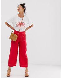 Surpiqûres Large Pantalon À Large Contrastantes Pantalon Ybgf7y6