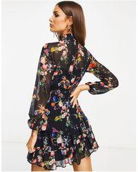 Lipsy Robe courte à manches longues et à fleurs - Noir