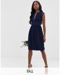 TFNC London Темно-синее Платье Миди Для Подружки Невесты С Кружевом -темно-синий