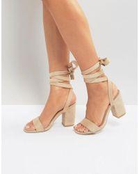 05d660509b6 Park Lane - Tie Ankle Block Heel Sandal - Lyst