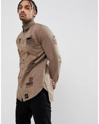 Sixth June - Muscle Distressed Shirt In Khaki - Lyst