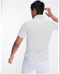 Abercrombie & Fitch Small Logo Stripe Air Knit Polo - White