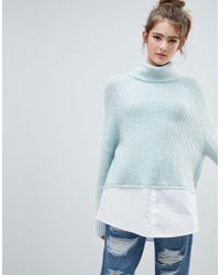 Urban Bliss - High Neck Knit With Shirting - Lyst